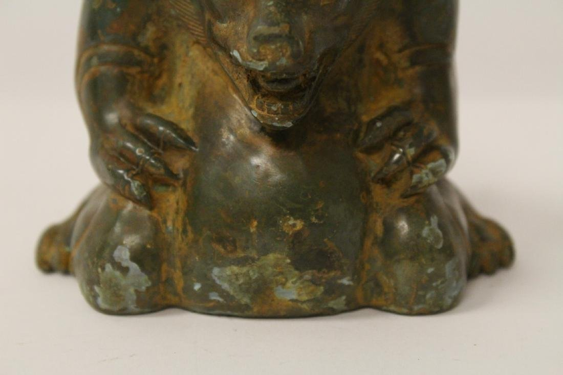 Unusual Chinese bronze censer in the form of beast - 9