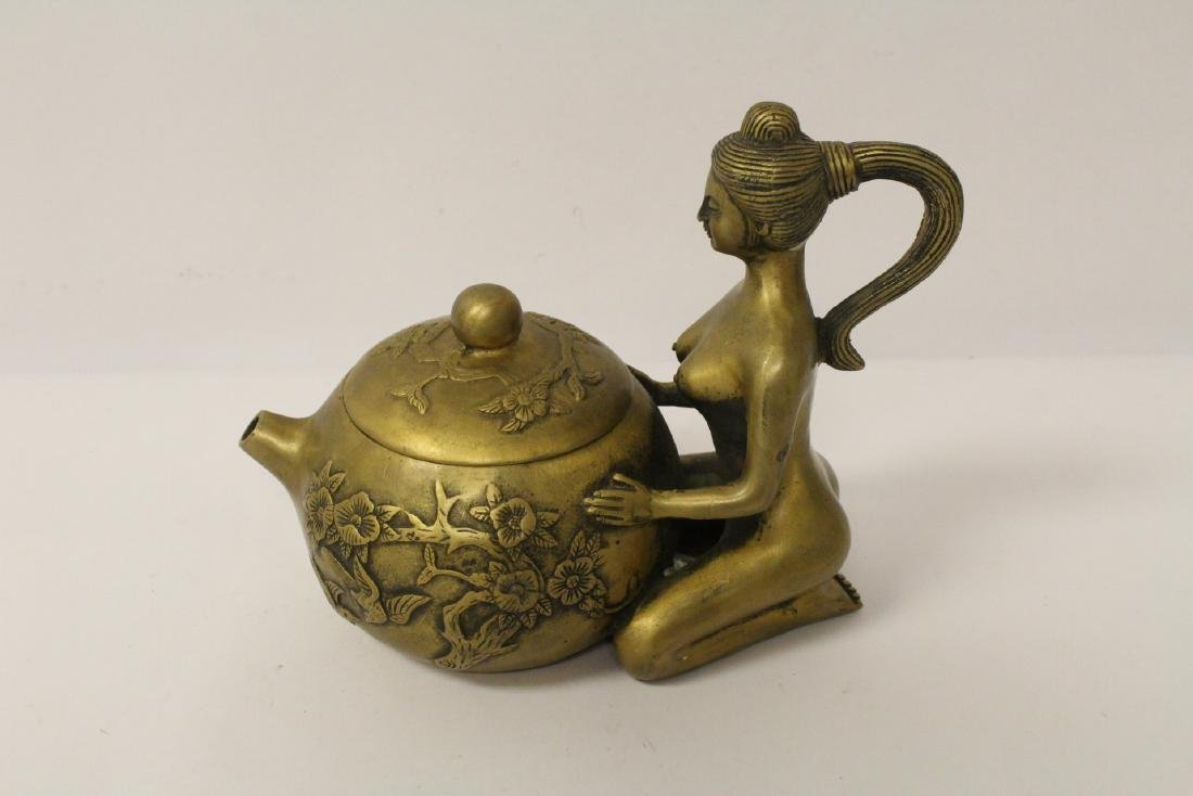 Chinese bronze teapot with nude motif handle