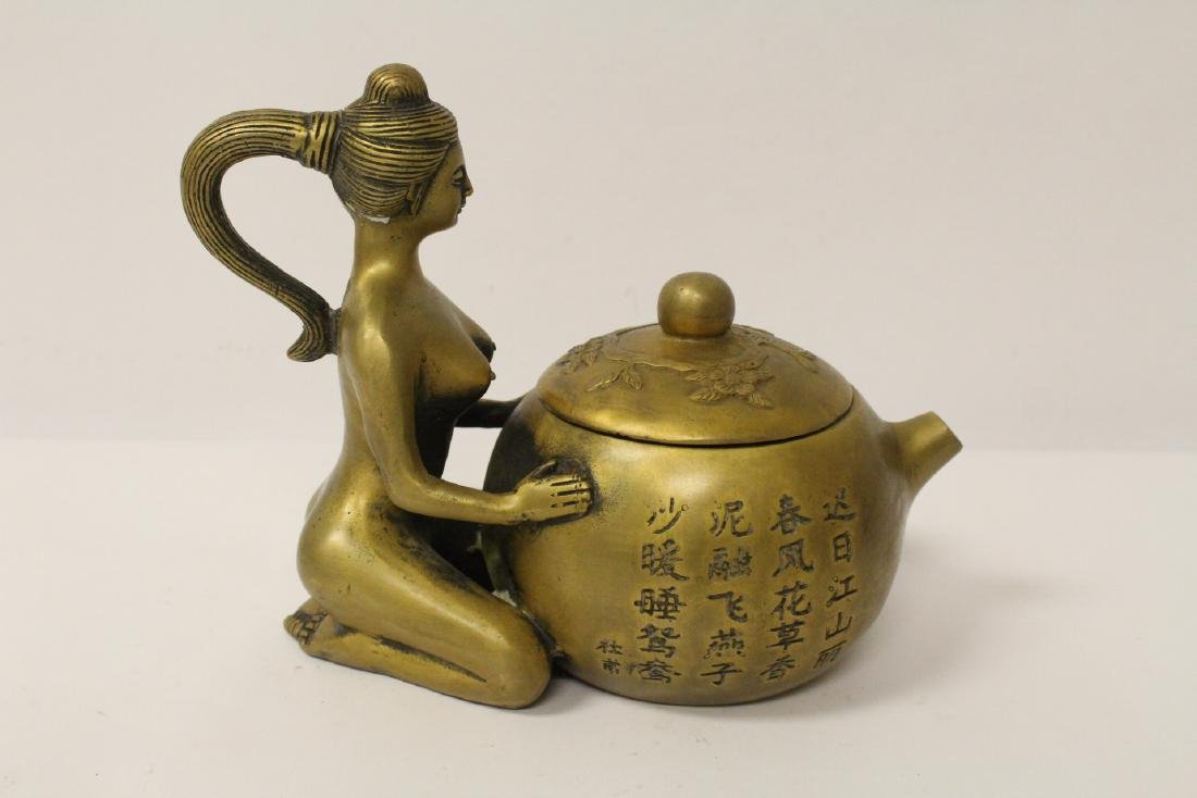 Chinese bronze teapot with nude motif handle - 5
