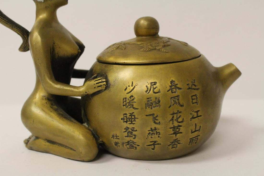 Chinese bronze teapot with nude motif handle - 6