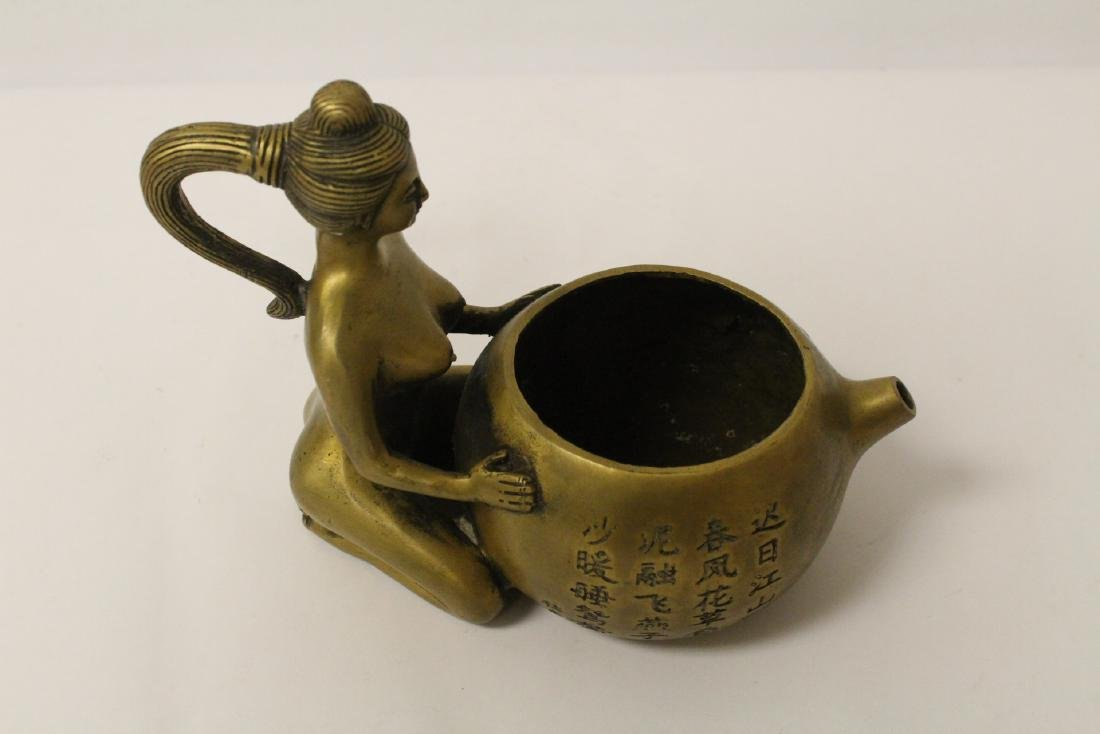 Chinese bronze teapot with nude motif handle - 9