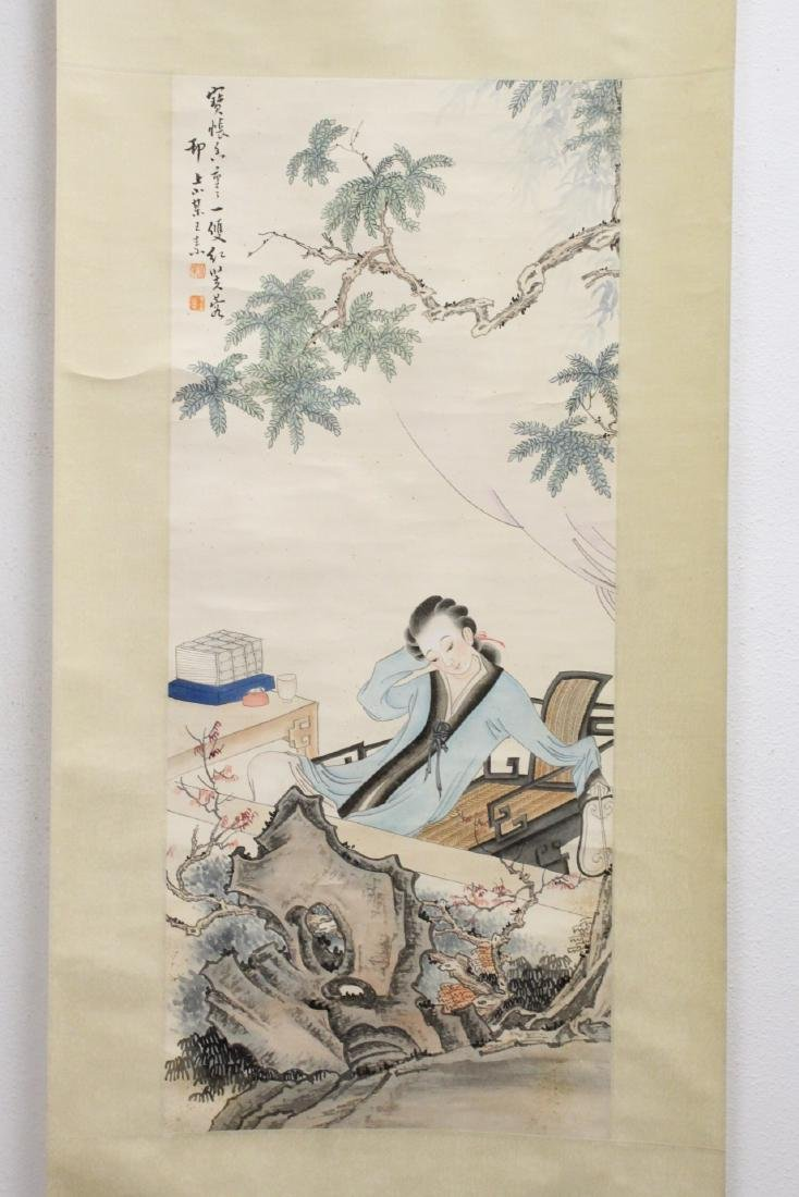 "Chinese watercolor scroll ""lady in garden"""