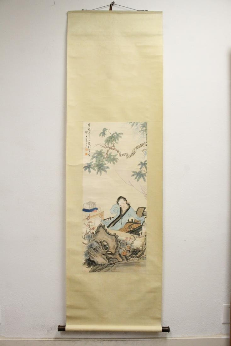 "Chinese watercolor scroll ""lady in garden"" - 2"