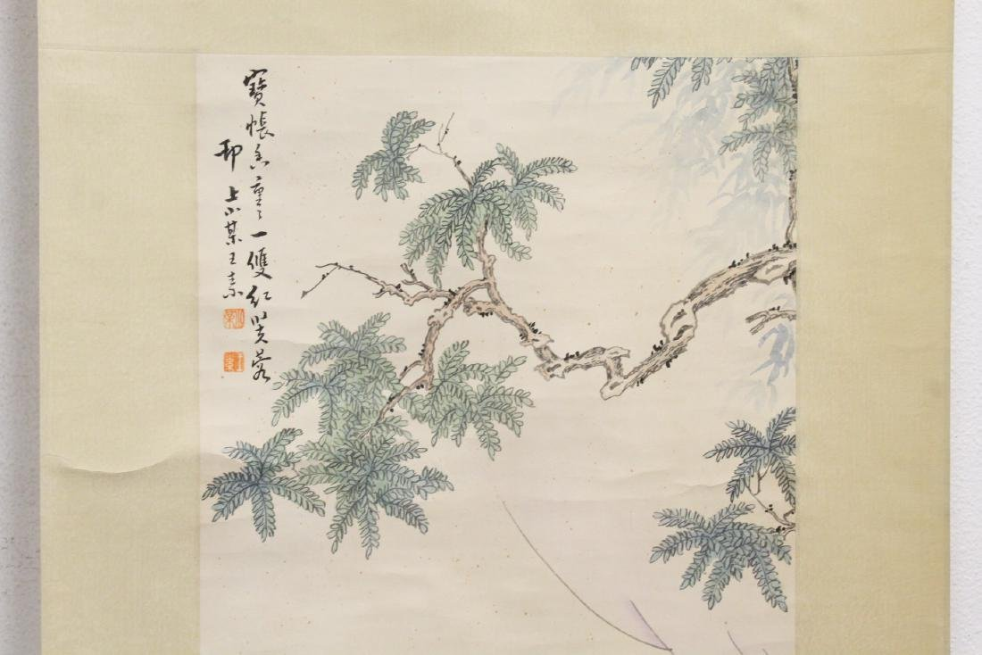 "Chinese watercolor scroll ""lady in garden"" - 3"