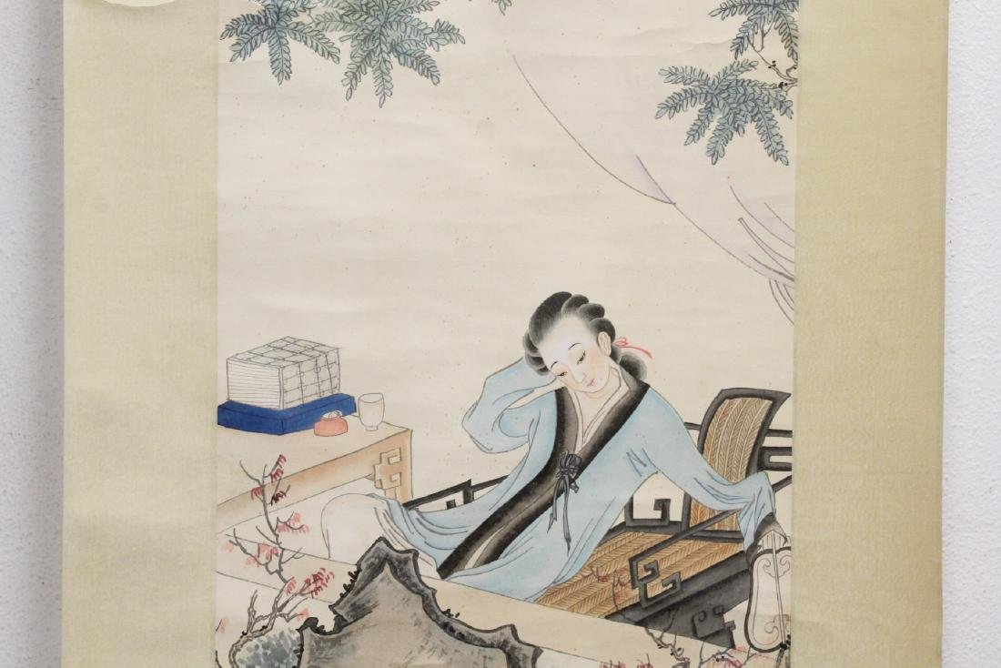 "Chinese watercolor scroll ""lady in garden"" - 4"