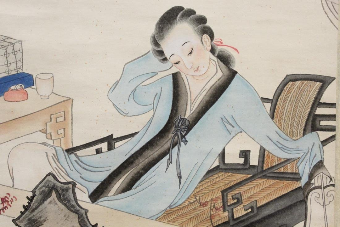 "Chinese watercolor scroll ""lady in garden"" - 6"