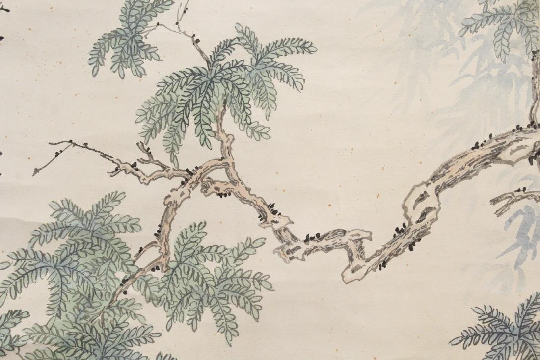 "Chinese watercolor scroll ""lady in garden"" - 7"