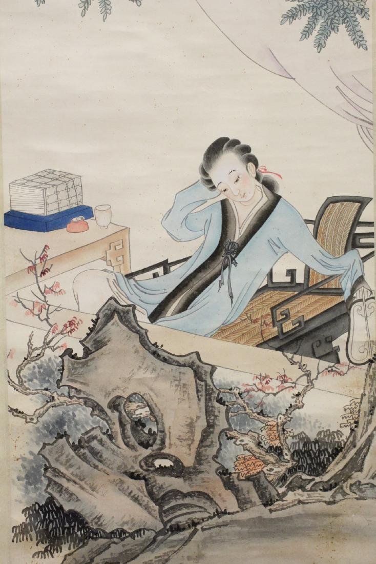 "Chinese watercolor scroll ""lady in garden"" - 9"