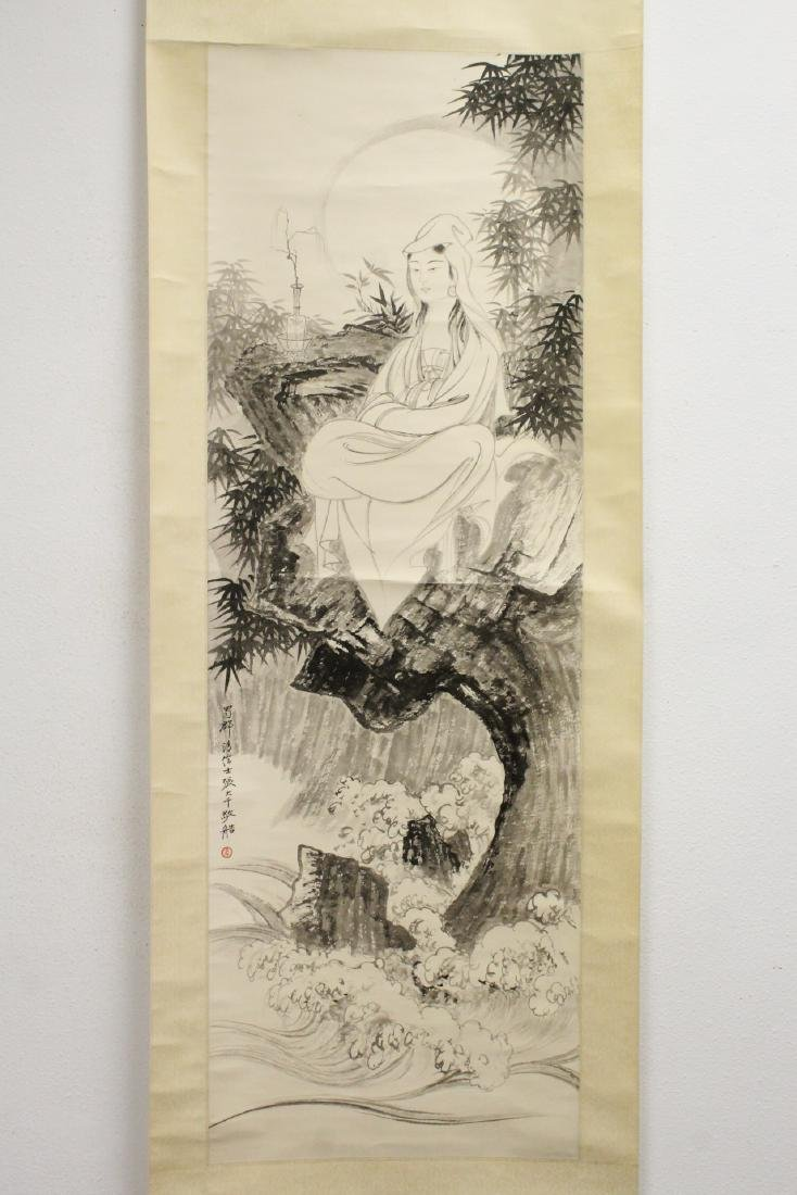 """Chinese watercolor scroll """"portrait of Guanyin"""""""