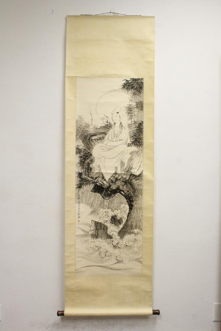 """Chinese watercolor scroll """"portrait of Guanyin"""" - 2"""