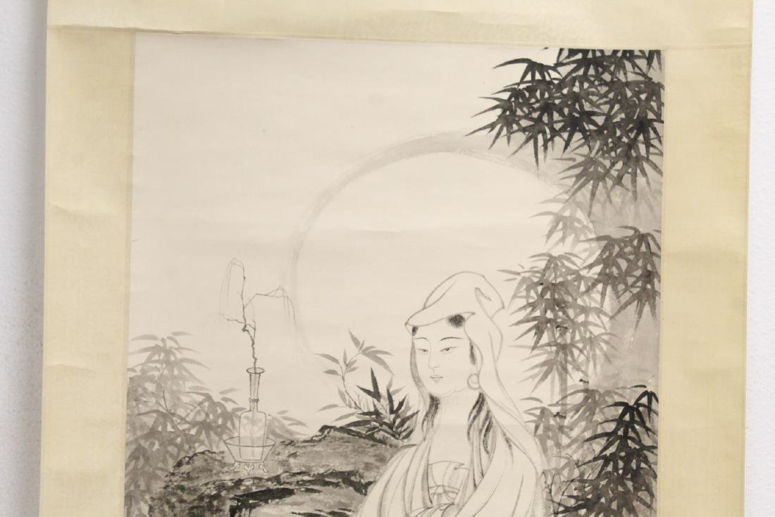 """Chinese watercolor scroll """"portrait of Guanyin"""" - 3"""