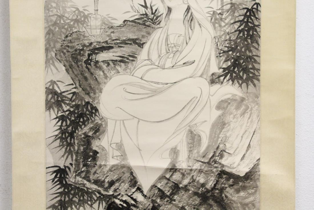 """Chinese watercolor scroll """"portrait of Guanyin"""" - 4"""