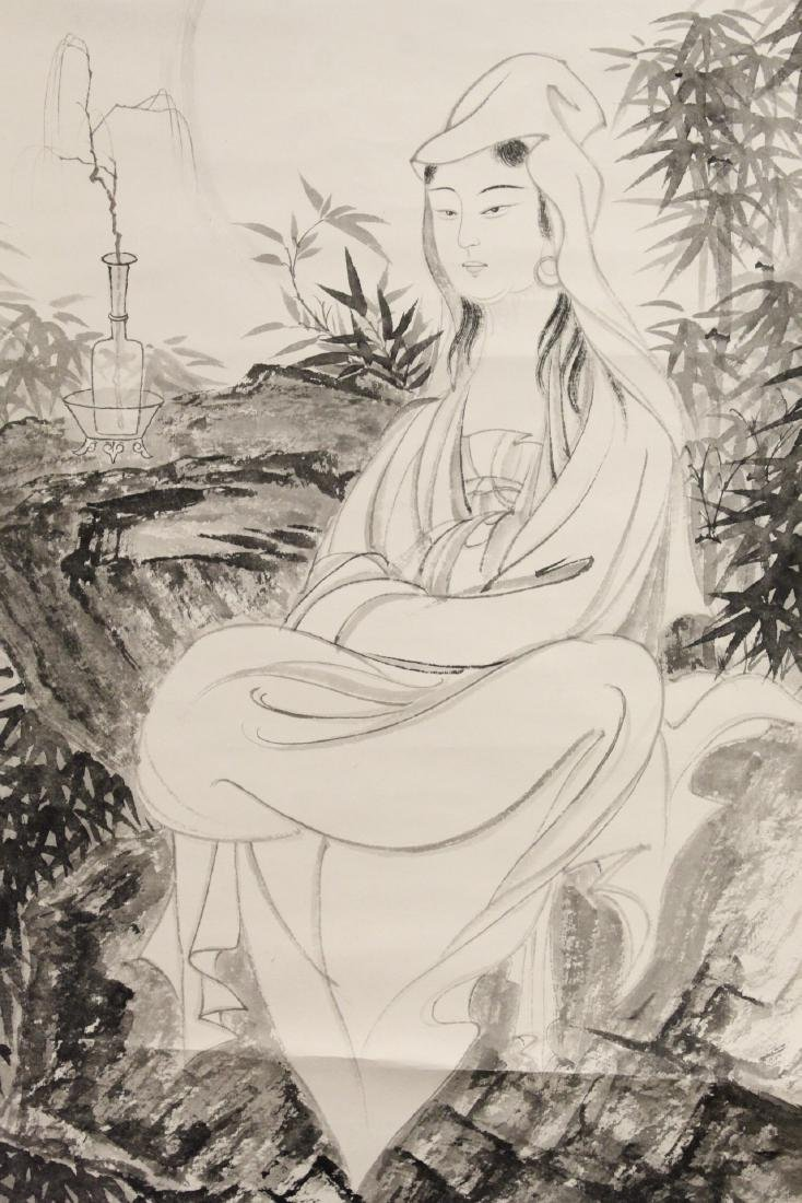 """Chinese watercolor scroll """"portrait of Guanyin"""" - 7"""