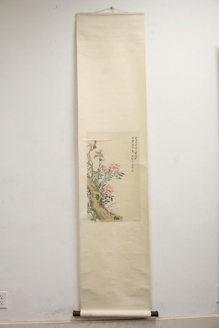 "Chinese watercolor scroll ""flowers"" - 2"