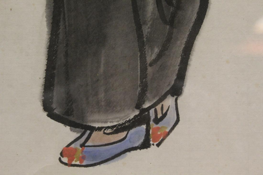 "Framed watercolor ""portrait of girl"" - 10"
