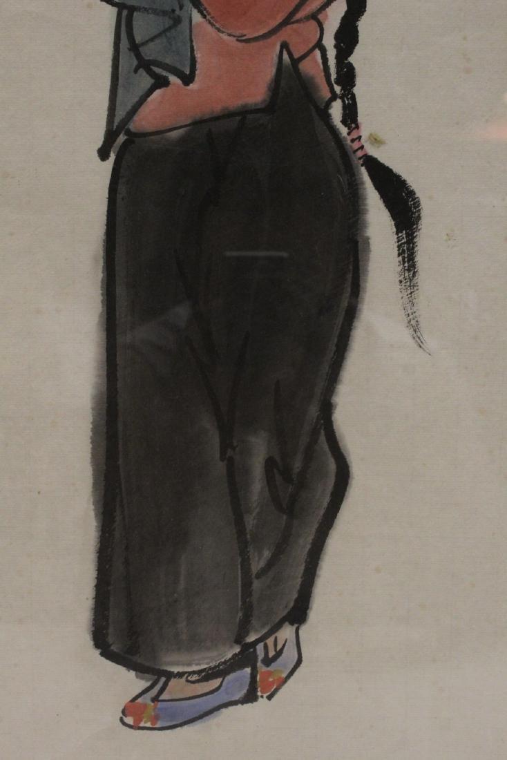 "Framed watercolor ""portrait of girl"" - 6"