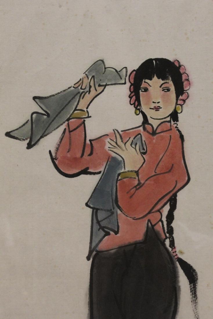"Framed watercolor ""portrait of girl"" - 7"