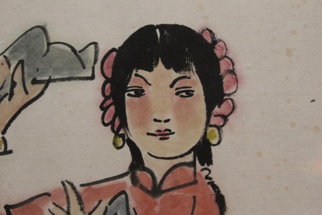 "Framed watercolor ""portrait of girl"" - 8"