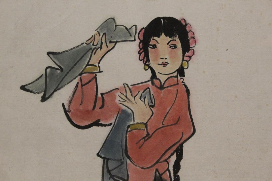 "Framed watercolor ""portrait of girl"" - 9"