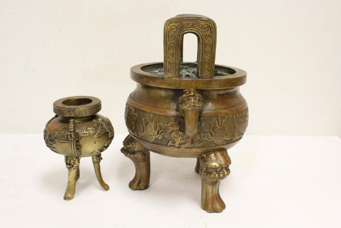 2 Chinese bronze/brass censers - 10