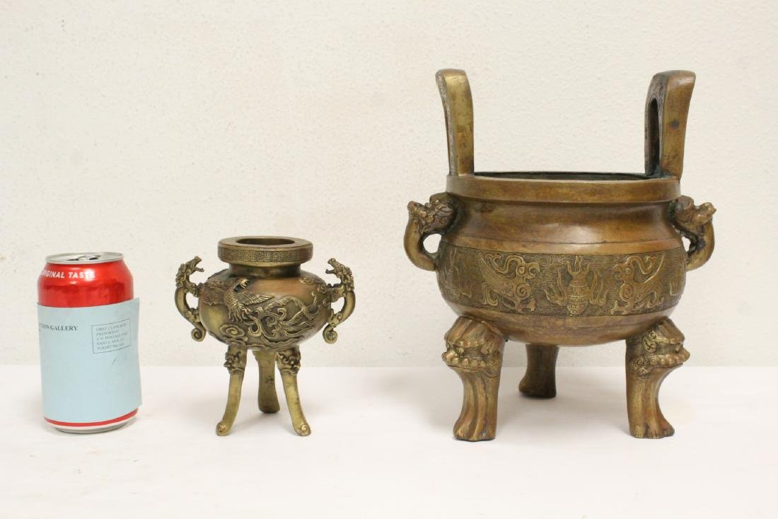 2 Chinese bronze/brass censers