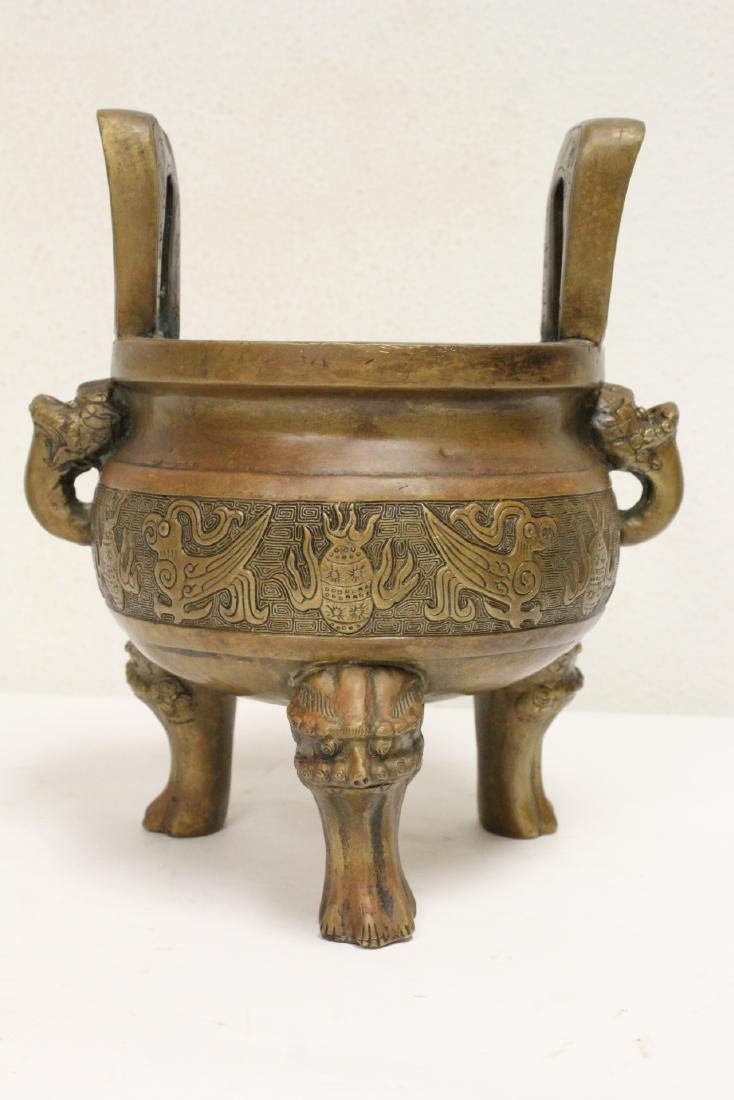 2 Chinese bronze/brass censers - 3