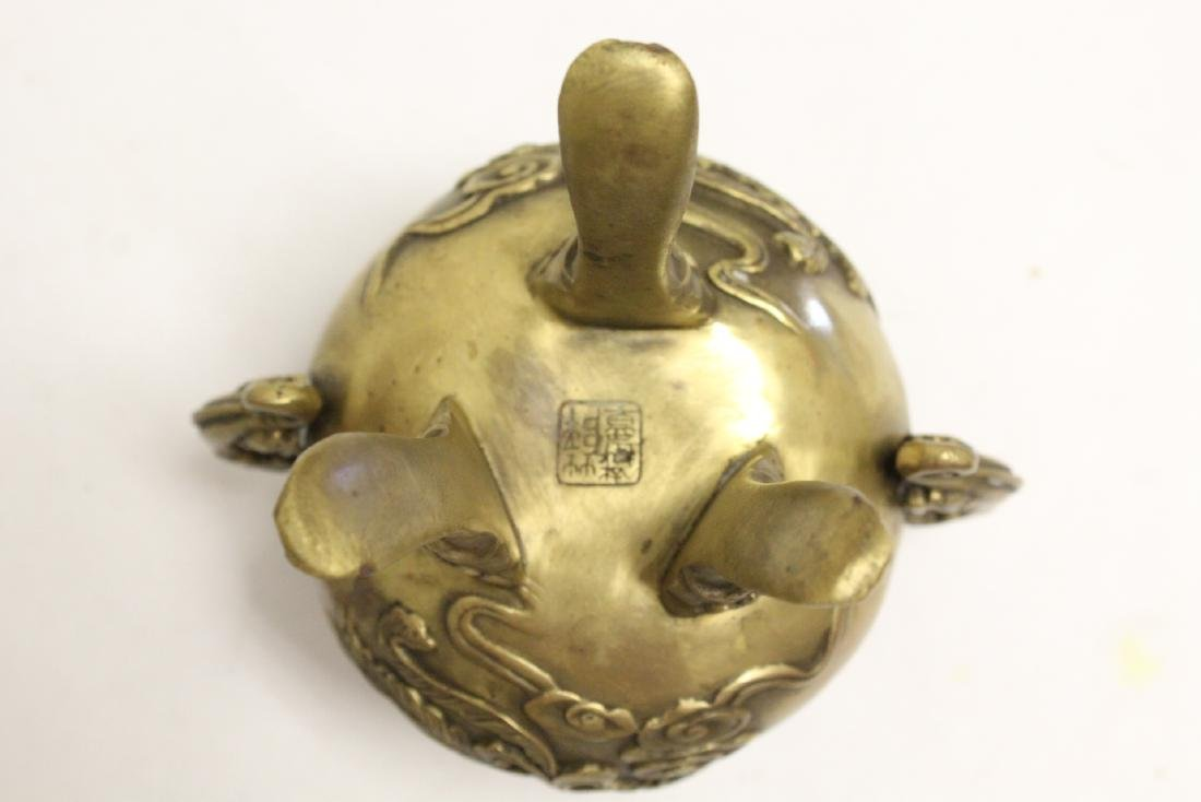 2 Chinese bronze/brass censers - 9