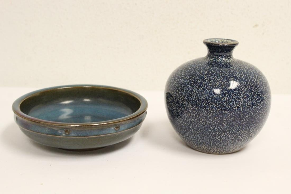 A Song style blue glazed jar and a Song style bowl
