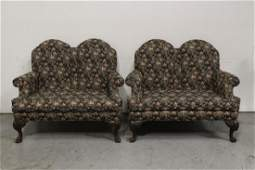 Pair Victorian loveseat with carved claw feet