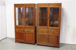 Pair vintage Chinese rosewood display cabinet
