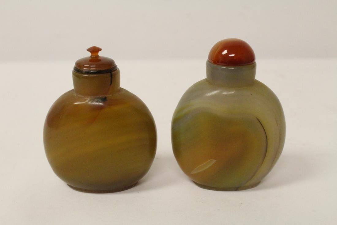 2 band agate carved snuff bottles