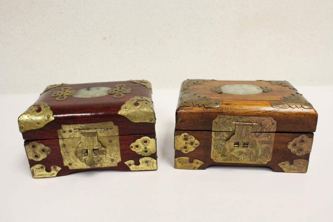 2 jewelry boxes, and 2 bone carved boxes - 2