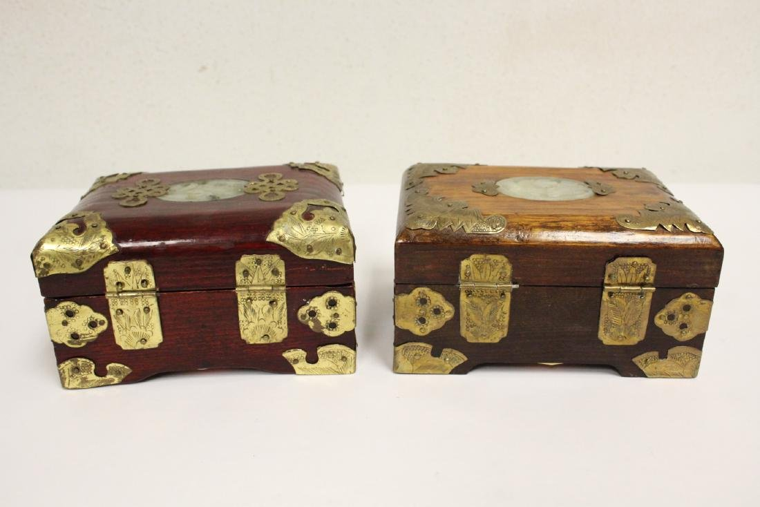 2 jewelry boxes, and 2 bone carved boxes - 3