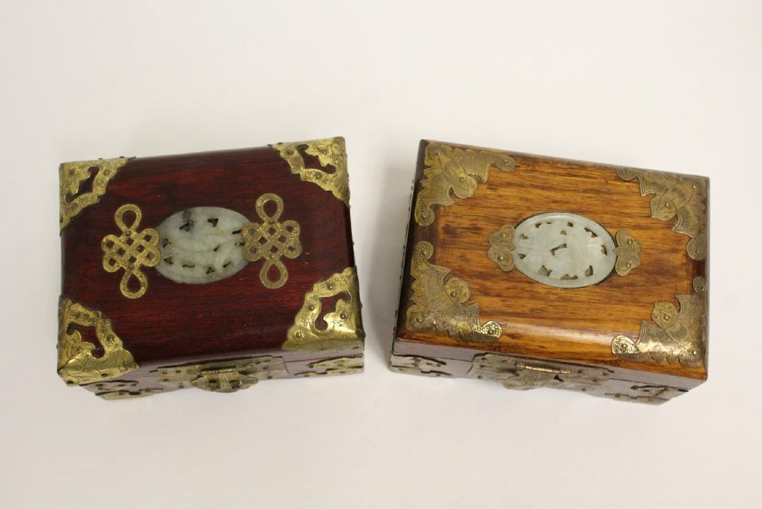2 jewelry boxes, and 2 bone carved boxes - 4