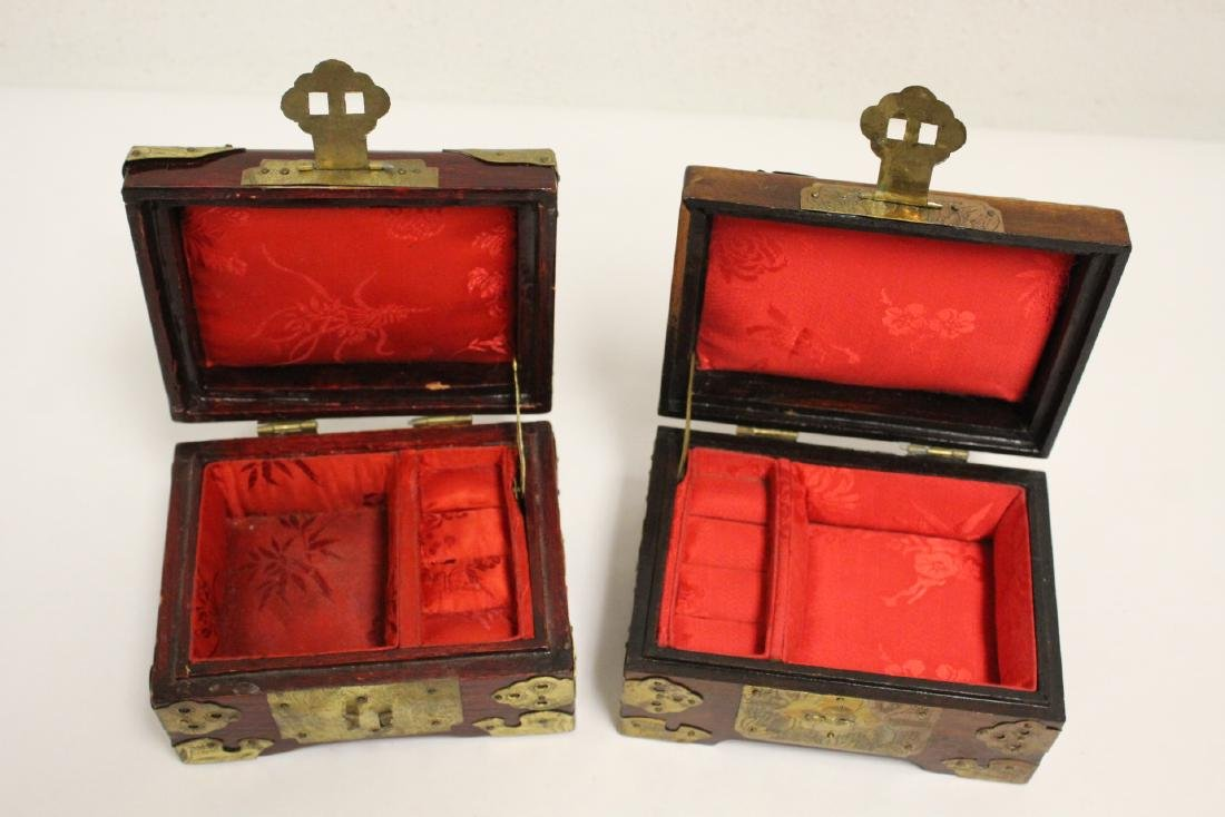2 jewelry boxes, and 2 bone carved boxes - 5