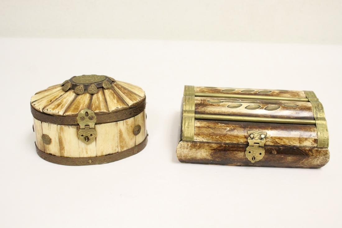 2 jewelry boxes, and 2 bone carved boxes - 6