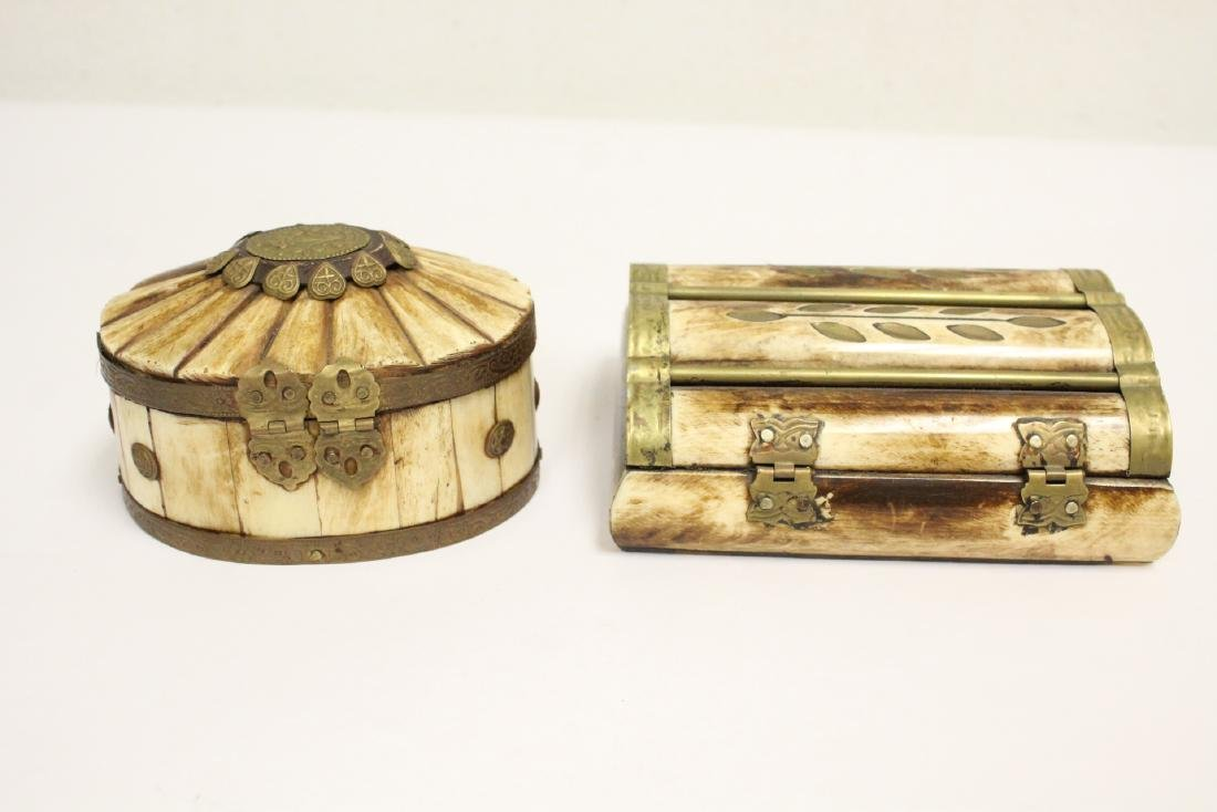 2 jewelry boxes, and 2 bone carved boxes - 7