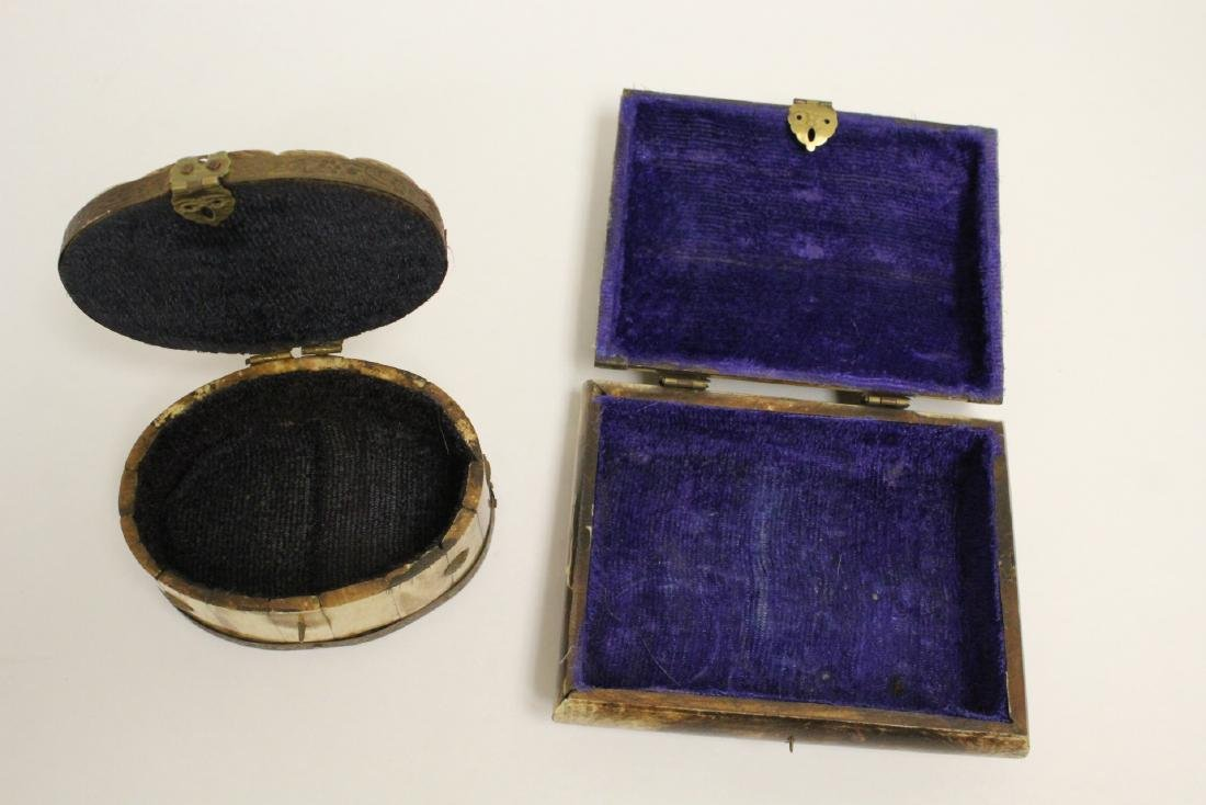 2 jewelry boxes, and 2 bone carved boxes - 9