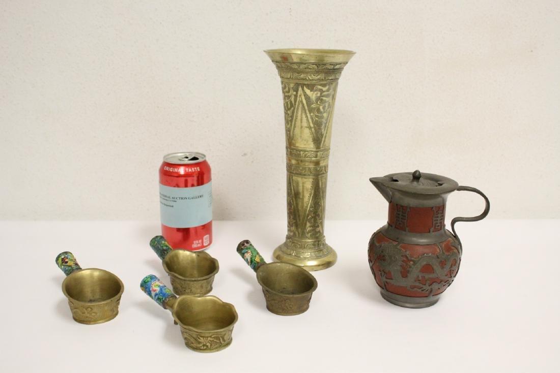 A heavy brass vase, a teapot, 4 irons