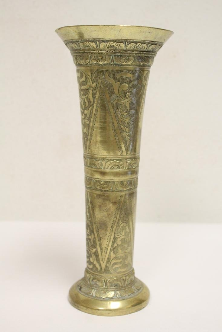 A heavy brass vase, a teapot, 4 irons - 6