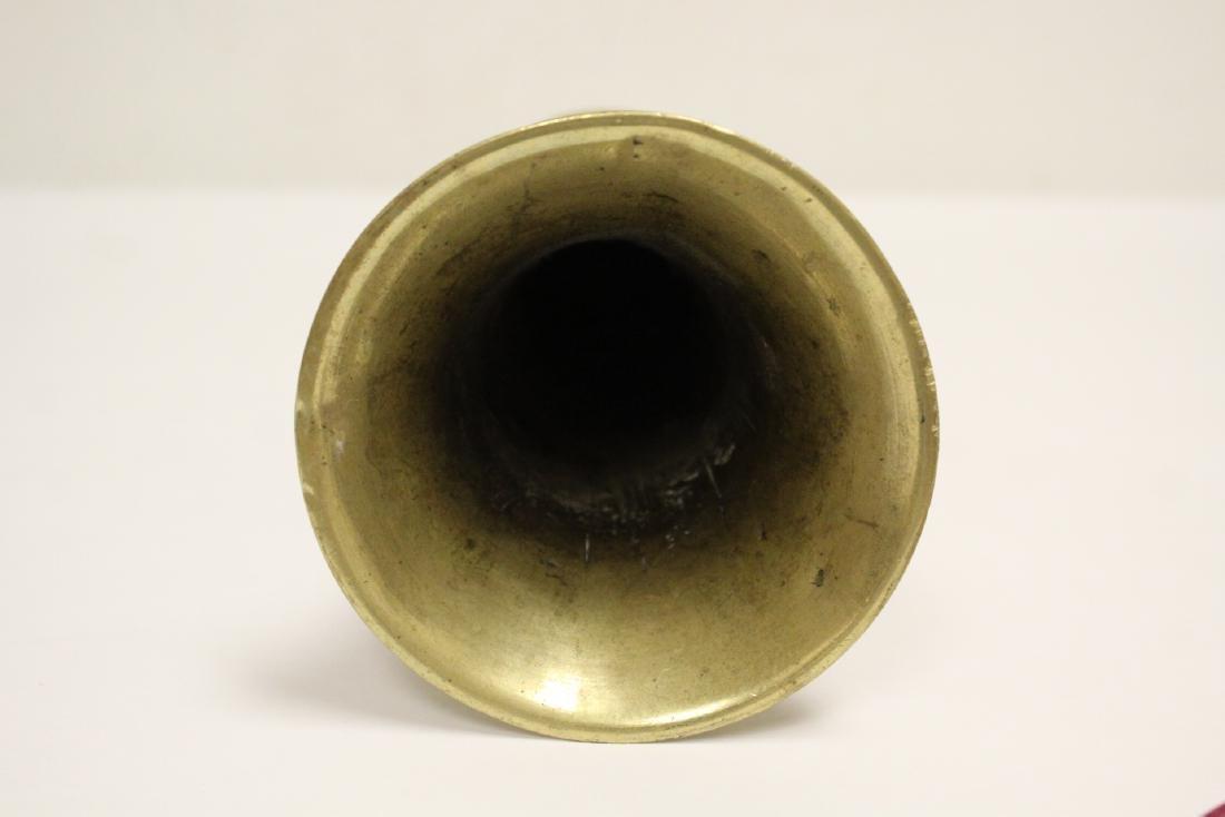 A heavy brass vase, a teapot, 4 irons - 7