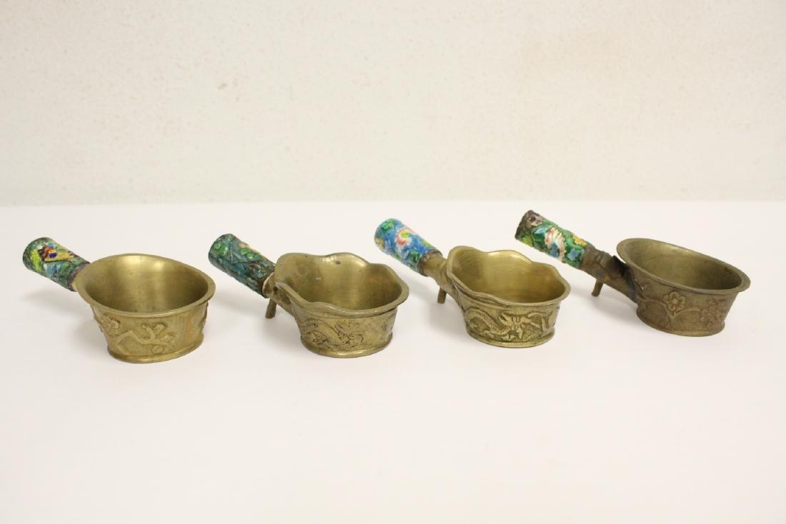 A heavy brass vase, a teapot, 4 irons - 8