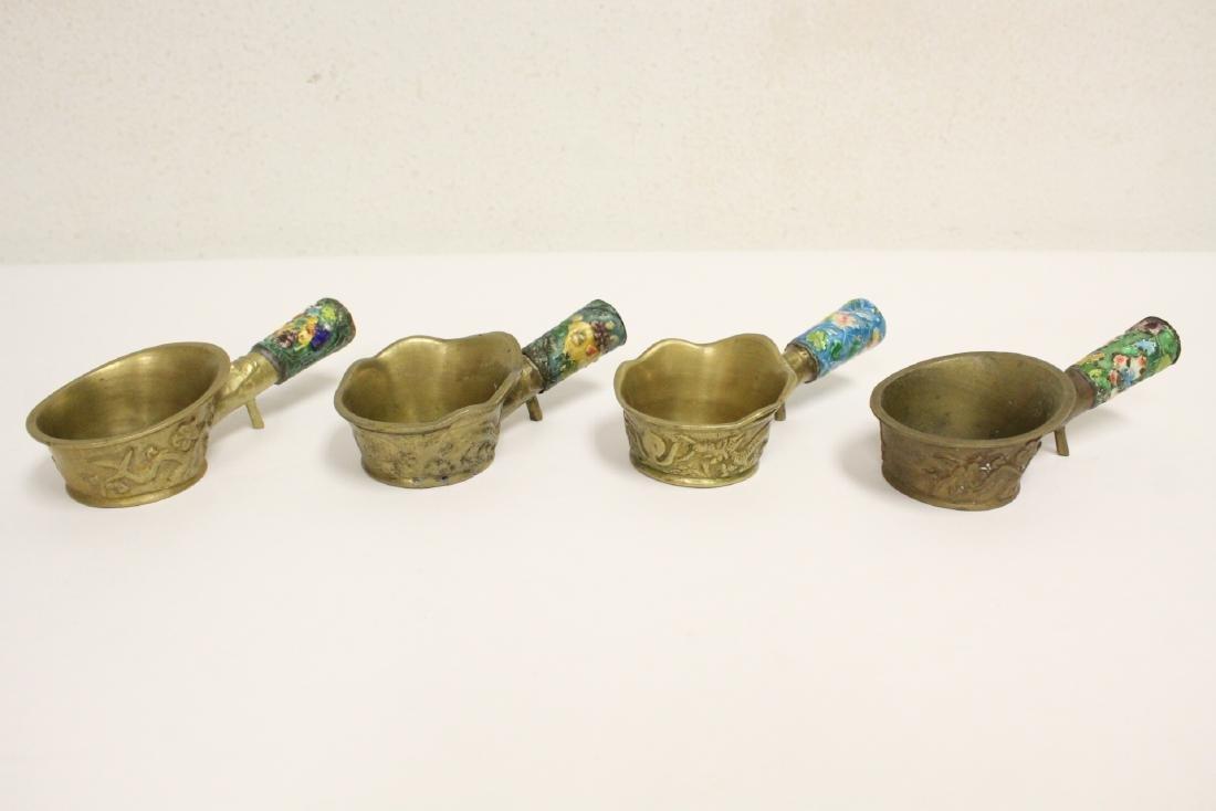 A heavy brass vase, a teapot, 4 irons - 9