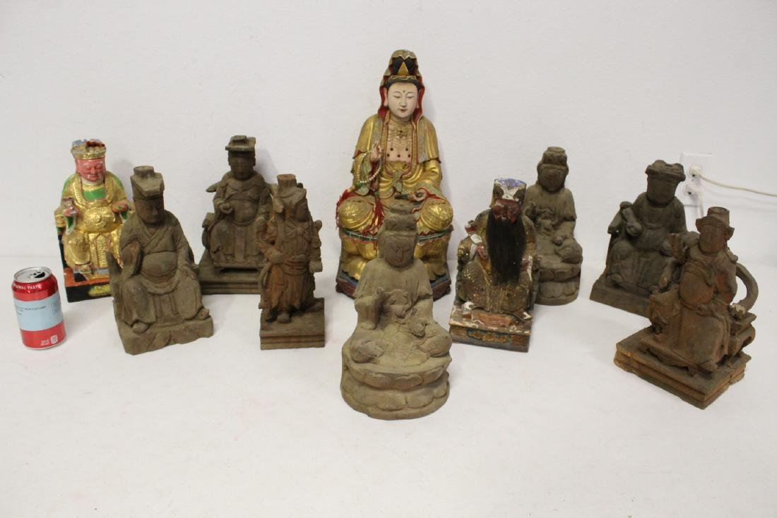 10 Chinese wood carved Buddha