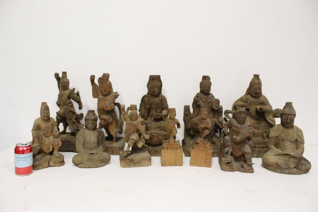 12 Chinese wood carved Buddha
