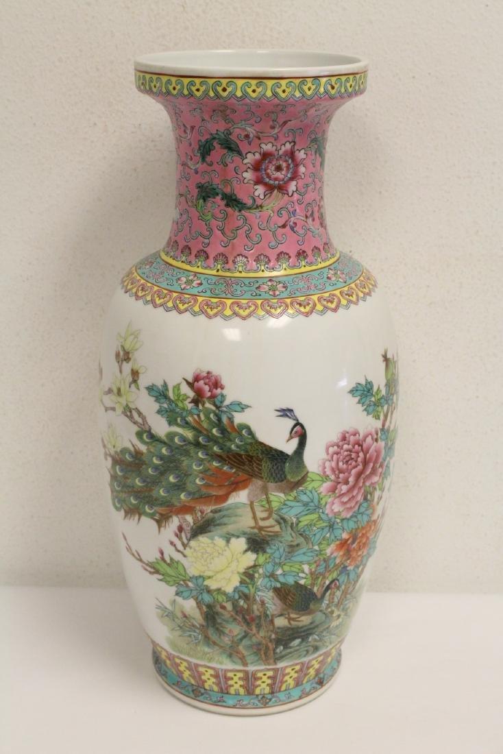 Pair Chinese famille rose porcelain vases - 5