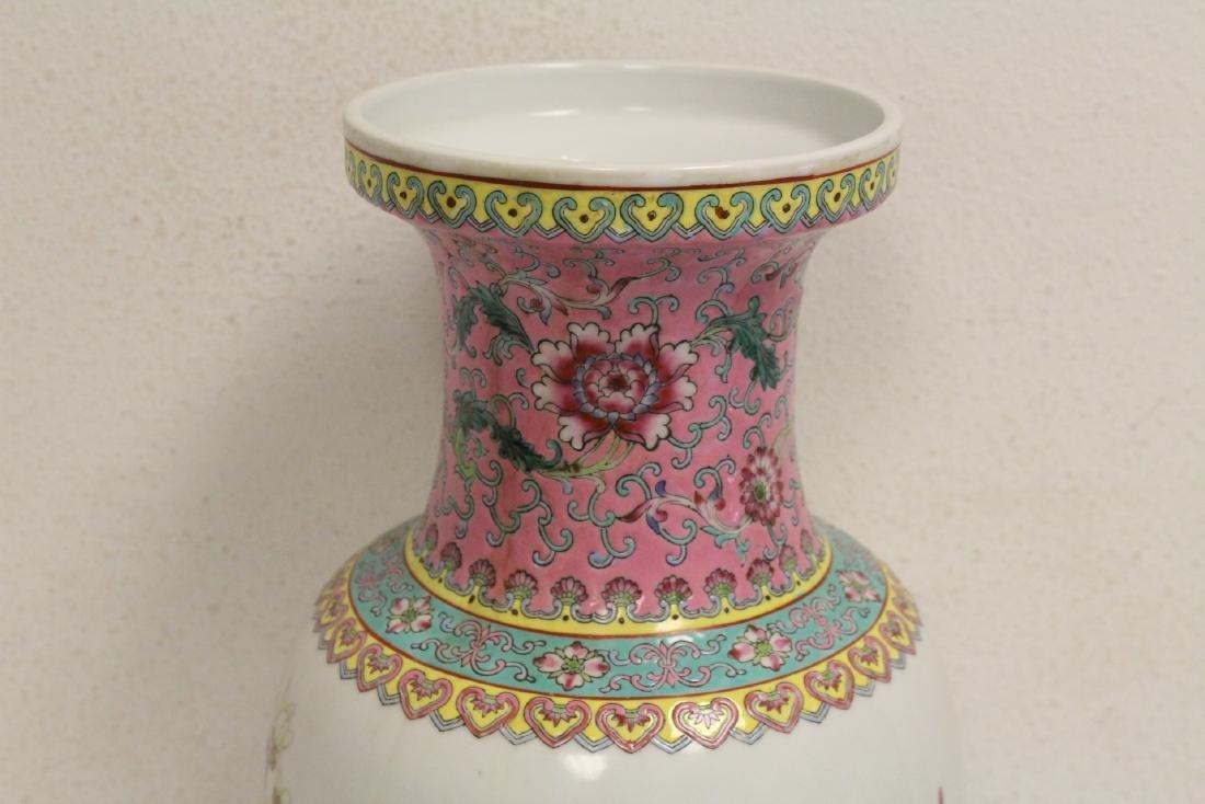 Pair Chinese famille rose porcelain vases - 6