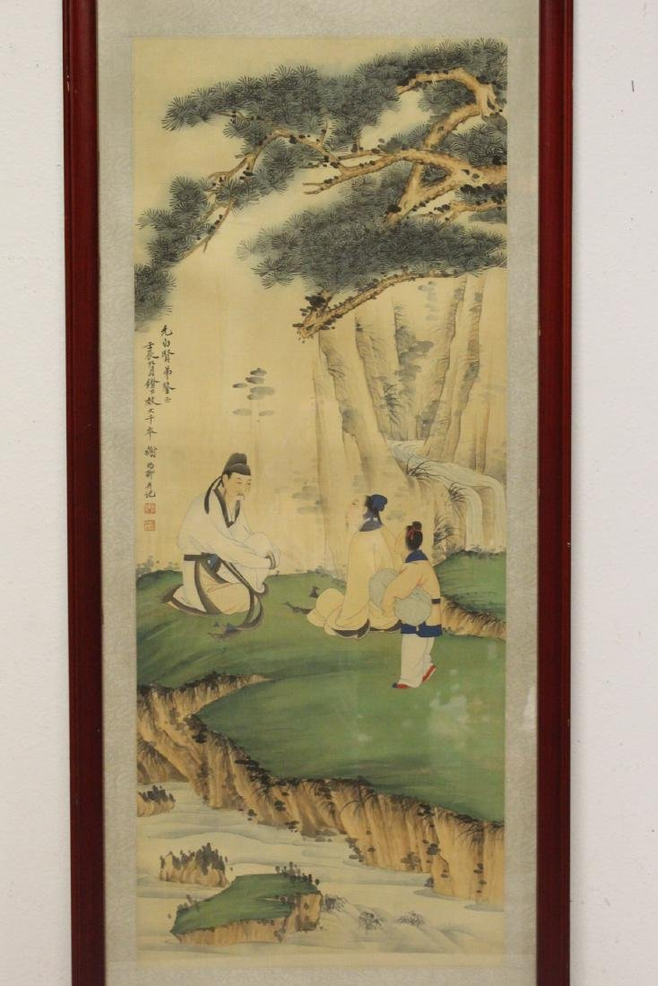 "Framed Chinese watercolor ""scholar scene"""