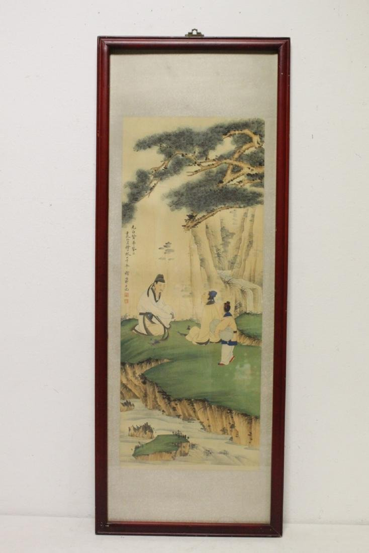 "Framed Chinese watercolor ""scholar scene"" - 2"