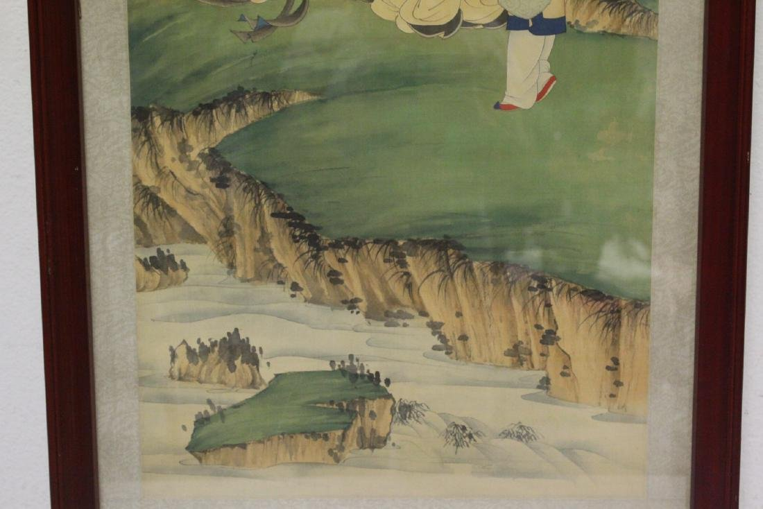 "Framed Chinese watercolor ""scholar scene"" - 5"